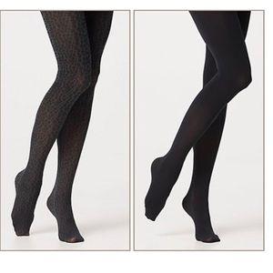 Legacy Legwear Opaque Control Top Tights Black NWT
